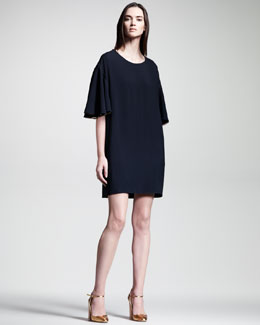 Chloe Cady Flutter-Sleeve Dress