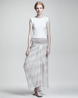Brunello Cucinelli Jersey-Waist Striped Maxi Skirt
