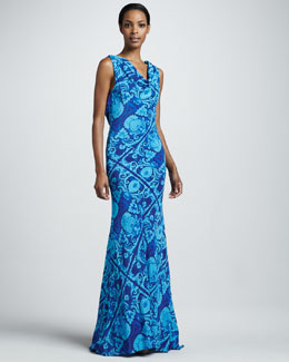 Vera Wang Printed Plunging-Back Gown, Azure
