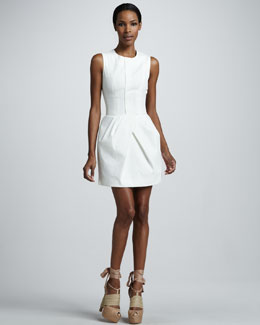 Vera Wang Corseted Cotton Poplin Dress, White