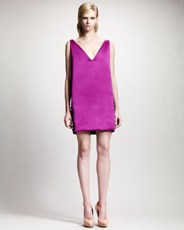 Lanvin Two-Tone V-Neck Shift Dress
