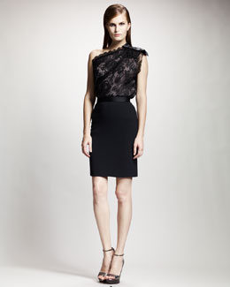 Lanvin Tuxedo-Waistband Pencil Skirt