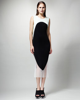Stella McCartney Colorblock Plisse-Satin Dress