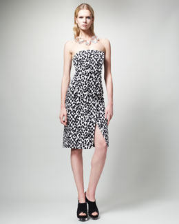 Stella McCartney Animal-Print Strapless Dress