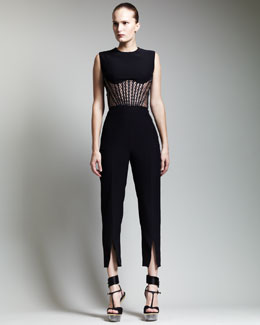 Alexander McQueen High-Waist Slit Cropped Pants