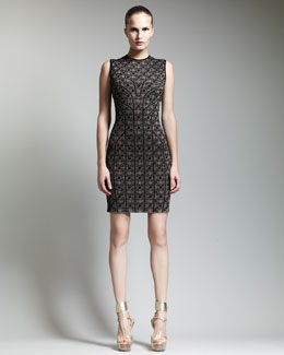 Alexander McQueen Paneled Metallic Jacquard Dress