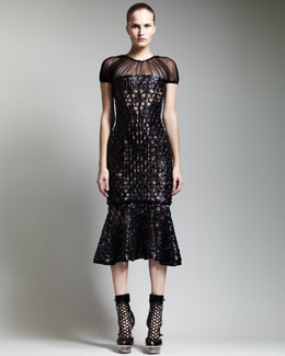 Alexander McQueen Flounce-Hem Patent Sheath Dress