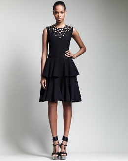 Alexander McQueen Metal-Embellished Tiered Dress