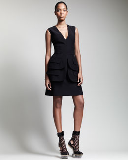 Alexander McQueen V-Neck Double-Peplum Dress, Black