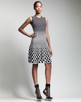 Alexander McQueen Honeycomb Jacquard Above-Knee Dress