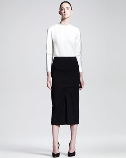 Haider Ackermann Below-the-Knee Front-Slit Skirt