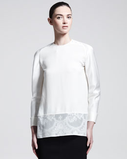 Haider Ackermann Silk Lace-Hem Blouse