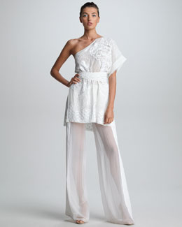 Emilio Pucci SHEER PANEL WIDE LEG PANTS