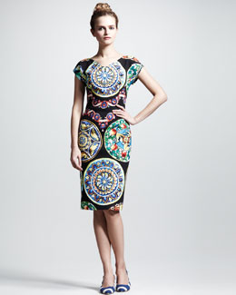 Dolce & Gabbana Ceramic-Print Cap-Sleeve Dress