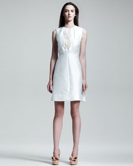 Valentino Sleeveless Lace Bib Dress