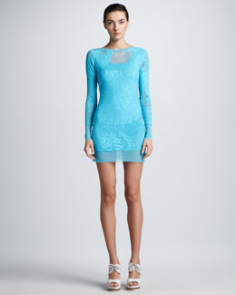 Jean Paul Gaultier Long-Sleeve Lace Tunic/Top/Dress, Pool