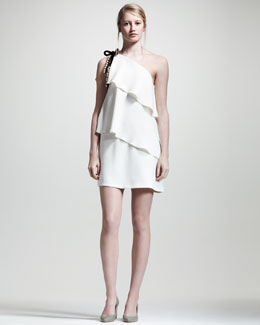 Chloe Asymmetric Tiered Dress, Off-White