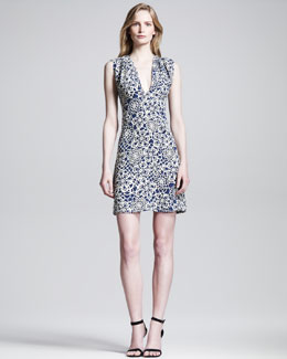 Thakoon Stained Glass-Print V-Neck Dress