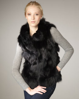 Jocelyn Roadie Fox Fur Vest, Black