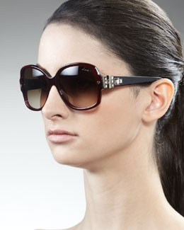 Lanvin Swarovski Crystals-Detail Square Sunglasses, Bordeaux