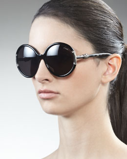 Lanvin Shiny Round Sunglasses, Black
