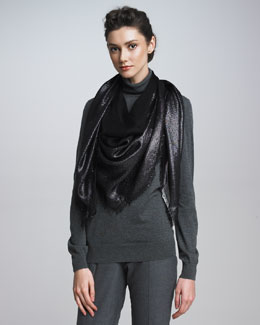 Loro Piana Metallic Evening Shawl, Black
