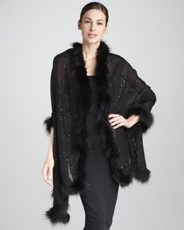 Valentino Fox-Trimmed Sequined Cashmere Shawl, Nero