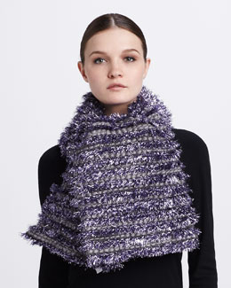 Marc Jacobs Tinsel-Striped Tweed Scarf, Lilac