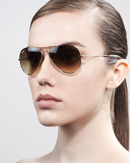 Ray-Ban Foldable Aviator Sunglasses, Golden/Brown