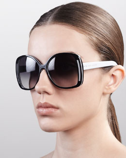 Marc Jacobs Oversized Oval Sunglasses, Black/Gray/Brown