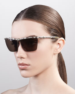 Lanvin Crystallized Snake-Print Sunglasses