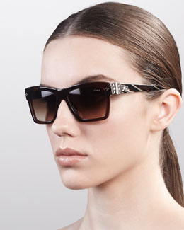 Lanvin Square Hardware Sunglasses, Brown