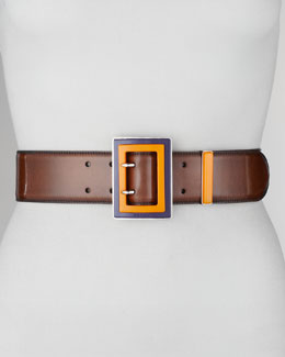 Prada Spazzolato Colorblock-Buckle Belt