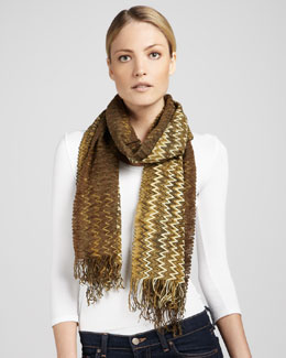 Missoni Zigzag-Striped Fringe Scarf