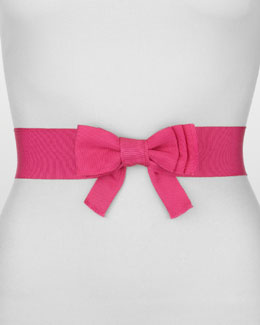 Lanvin Elastic Grosgrain Bow Belt, Shocking Pink