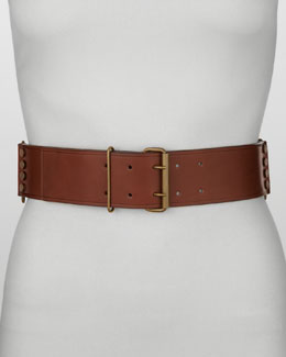 Lanvin Studded Leather Belt, Moka