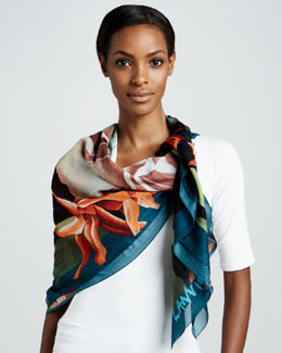 Lanvin Fleurs Cotton Scarf, Navy Blue