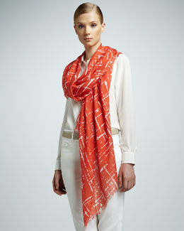 Loro Piana Abstract-Print Nuvola Stole, Vendange d'Orange