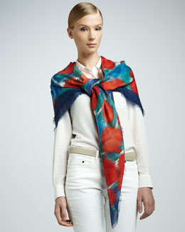 Loro Piana Scialle Jardin Printed Scarf, Vendange d'Orange