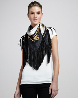 Gucci Calantia Leather-Fringe Silk Scarf