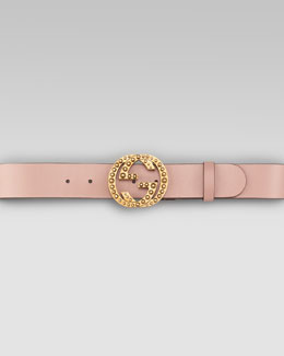 Gucci Metal Stud Interlocking Leather Belt, Dark Cipria