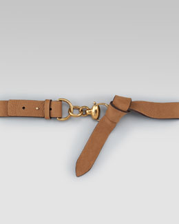 Gucci Suede Spring-Ring Belt, Acero
