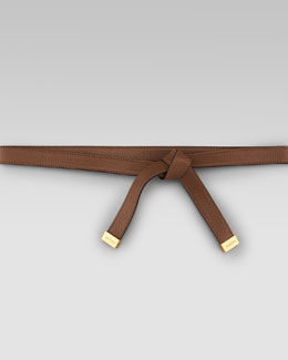 Gucci Leather Tie Belt, Acero