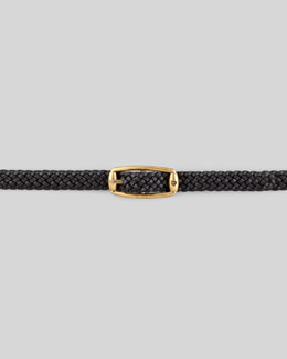 Gucci Braided Leather Belt, Nero