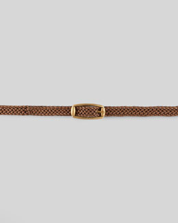 Gucci Braided Leather Belt, Acero