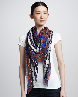 Peter Pilotto Geometric-Print Scarf, Red