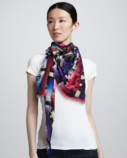 Peter Pilotto Mixed Damask Stripe Scarf, Pink