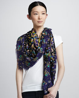 Peter Pilotto Mixed-Print Geometric Scarf, Blue