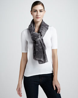 Stella McCartney Python-Print Scarf, Gray
