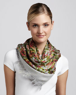 Stella McCartney Metallic Threaded Floral-Print Scarf, Pink/Green